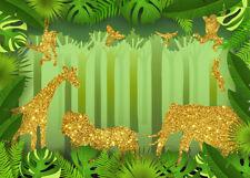 Green Jungle Backdrop 7X5FT Vinyl Gold Safari Animals Photography Background LB