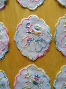 12 Embroidered Motifs - White With Pastel Rainbow Embroidery - Fairy With Wand
