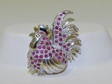 GENUINE! 0.67tcw African Sapphire & Ruby Rooster Brooch Solid S/Silver 925.