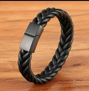 classic style stainless steel leather bracelet magnet buckle custom size newyear