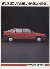 N°6623 / dépliant CITROEN BX 19 GT année modéle 85