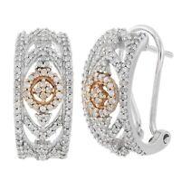14k Two Tone Gold 0.45ctw Diamond Vintage Style Half Hoop Earrings