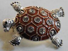 Turtle Pin tortoise brooch rhinestones & shiny brown on silvertone reptile