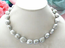 Real 8-9mm Natural Silver Gray Baroque Freshwater Cultured Pearl Necklace 18'' A