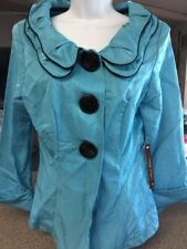 Song & Sung Design Today's Jacket Blazer Double Collar Turquoise & Black Medium