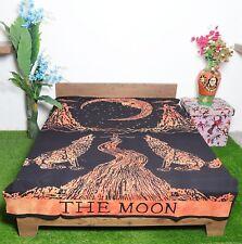 Mandala Tapestry Single Size Wallhanging Cotton The Moon Print Orange Wall Decor