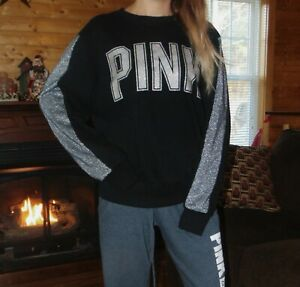 NEW Victoria's Secret sweat shirt small Black Bling