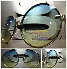 VINTAGE RETRO Style SUN GLASSES Large Round Silver Frame Green Ombre & Lime Lens