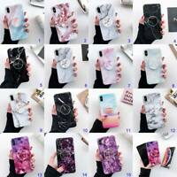 For iPhone XS Max XR X 6s 7 8 Plus Marble Pattern Stand Holder Case Glossy Cover