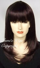 Silky Touch Layered Straight Wig In Black + Hint Of Wine Burgundy From Fumi Wigs