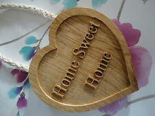 HOME SWEET HOME SIGN WOODEN OAK HOUSE/SHED/GARDEN/HEART QUALITY WOOD ART