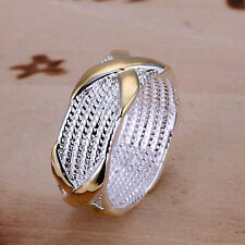 "Lowest price wholesale solid silver gold""X"" ring size 6,7,8,9,10+box SR013"