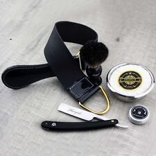 Vintage Men's Shaving Set Straight Razor / Cut Throat & Pure Black Badger Brush
