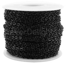 Cable Chain Spool - 100 Feet - Dark Black Color - 2x3mm Link - Rolo