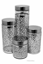 Set 4 Large Glass Kitchen Jar Canisters w Stainless Steel Retro Circles Sleeves