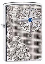Zippo 28809, Armor, Nautical Waves, Deep Carved, High Polish Chrome Lighter,