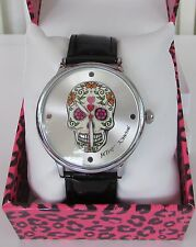 Betsey Johnson Punk Sugar Skull Watch Black Silver NWT