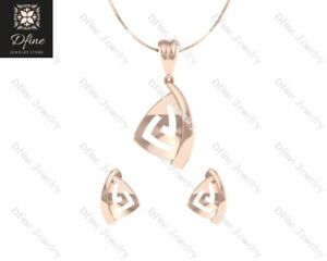Classic Engagement Pendant Earrings Set Rose Gold Fn 925 Silver Anniversary Gift