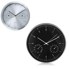 """Reloj de pared 14"""" / 12"""" con termómetro e higrómetro integrados"""