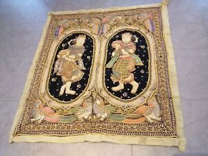 ANTIQUE fabric decorative vintage BURMESE DANCERS tapestry embroidery wall panel