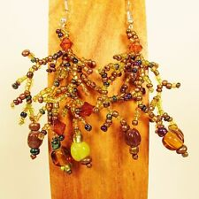 "2"" Green Brown Color Bohemian Mix Bead Style Handmade Dangle Seed Bead Earring"