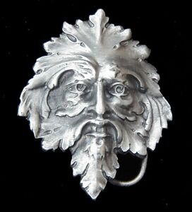 COOL SMALL SIZED GREEN MAN BELT BUCKLE BERGAMOT PEWTER US MADE NEW