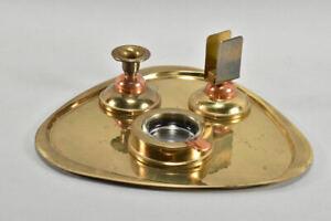 k66v42- 4-tlg. Metall Raucherset Art déco