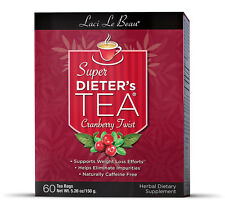 Laci Le Beau Super Dieter's Tea Bags - Cranberry Twist 60 ea, Caffeine Free NIB