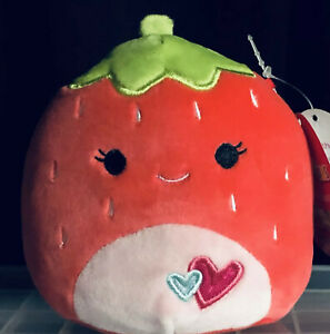"NWT Squishmallows 5"" SCARLETT Red Strawberry Valentines Hearts on Tummy Plush"