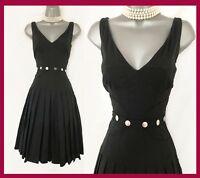 Karen Millen UK 8 Black Fit & Flare V Neckline Pleated Prom Cocktail Race Dress