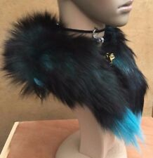 green black genuine real fox tail fur collar scarf neck warmer shawl stole