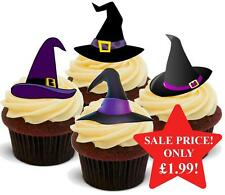 12 NOVELTY HALLOWEEN STAND UPS Witches Hat Purple Mix Edible Cake Toppers Witch