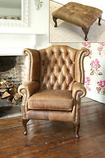 Chesterfield Queen Anne Wingback Chair and Footstool in Vintage Tan Leather