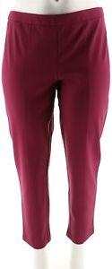 Joan Rivers Signature Ankle Pants Front Seam Bordeaux S NEW A300856