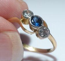 Vintage 18ct Gold Platinum Sapphire Diamond .35ct Collet Set 3 Stone Ring Boxed