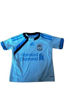 Liverpool FC Away Football Kit Size 2-3 Years, White/Blue