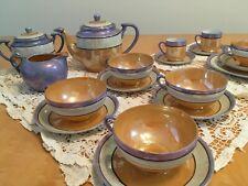 Vintage Iridescent Japan Lusterware 1921-1941 Tea/Demitasse orange/blue/tan