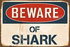 "Beware Of Shark 8"" x 12"" Vintage Aluminum Retro Metal Sign VS476"