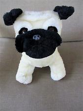 "Bulldog/ Boxer Dog 12"" Sitting Off White/Black Color Plush Stuffed"