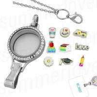 Floating Locket Charm Lanyard Id Badge Keychain Card Holder Teacher Nurse Gift