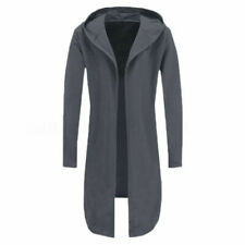 Men's Winter Trench Coat Jacket Hoody Cardigan Sweatshirt Long Capes Cloak L
