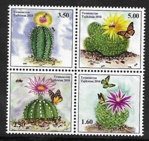 Tajikistan 2018 MNH, Cacti & Honey bees & butterflies