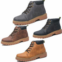 Men's Lace Up Boots Vintage Work Safety Anti slip Martin Cowboy Motorcycle Shoes