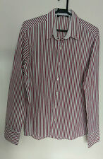 """Mishumo Mens Smart Casual Shirt White with Red and Black Stripes VGC Size 17"""""""