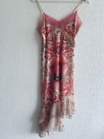 PINK PEACH LACE DRESS FLORAL FRILL S OR 10/12 SUMMER PRETTY PARTY EVENING GLAM