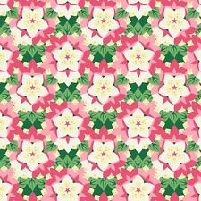 Fabric Flowers Rhododendron State W Virginia Art Deco on Cotton by the 1/4 yard