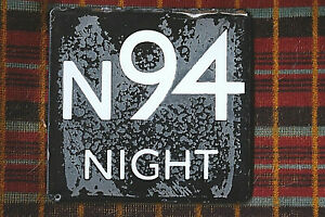 LONDON TRANSPORT BUS STOP E-PLATE: NIGHT BUS ROUTE N94 white on black