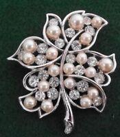 "Bogoff Silvertone Leaf w Crystals & Pearls Pin Brooch Signed Vintage 2 1/4 x 2"""