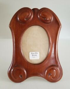 Antique Carved Wood Frame Art Nouveau Easel Back Table Photo Frame with Glass