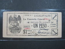 MEXICO OAXACA 1 PESO 1916 S948b SHARP #E MEXICAN REVOLUTION PAPER MONEY BANK